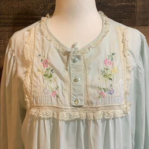Vintage Barbizon Blue Lacy Embroidered Nightgown